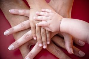 Family hands on team